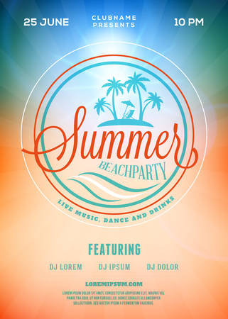beach party: Beach Party Flyer or Poster. Summer Night Party. Vector Template