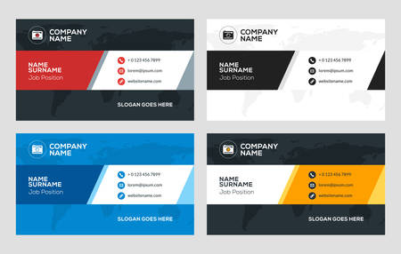 combinations: Creative Business Card Template. Flat Design Vector Illustration. Stationery Design. 4 Color Combinations. Print Template
