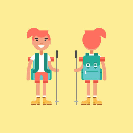 hiking stick: Hiking Concept. Smiling Girl with Backpack and Stick for Hiking. Front and Back View. Flat Style Illustration