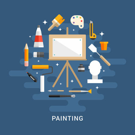 blank canvas: Painting Concept. Wooden Easel with a Blank Canvas. Flat Style Vector Illustration. Profession Concept Painter Illustration