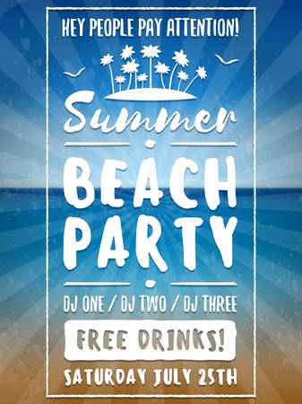 event party: Beach Party Flyer or Poster. Night Club Event. Summer Night Party. Vector Flyer Design Template