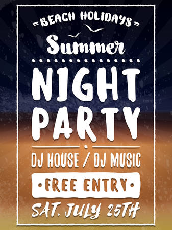 party night: Beach Party Flyer or Poster. Night Club Event. Summer Night Party. Vector Flyer Design Template