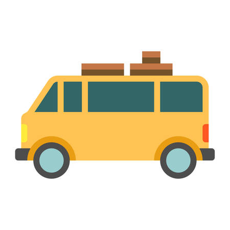 family isolated: Vintage yellow camper or trailer for family trip. Flat vector illustration isolated on white background