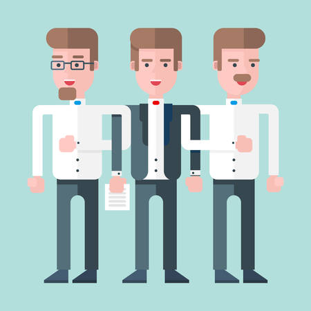 three persons: Three persons stand together as a team. Flat vector illustration. Lightblue background Illustration