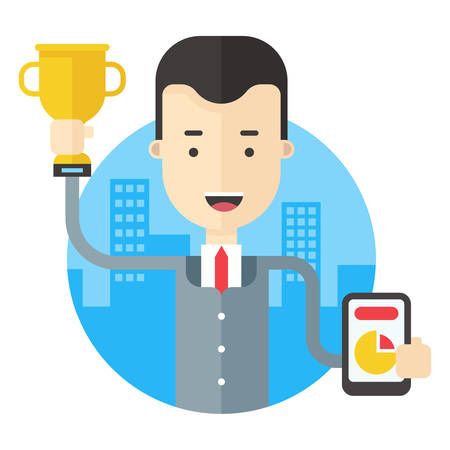 awarded: Man in suit holding a prize cup and a pie chart with results. Flat vector illustration