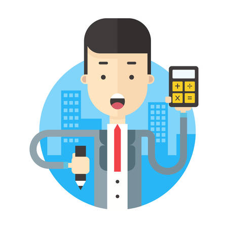 bookkeeper: A businessman holding calculator and writing. Coloured flat vector illustration