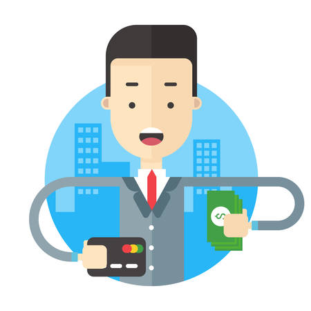 manage transportation: A man in suit holding a bundle of notes and a road map. Flat vector illustration Illustration