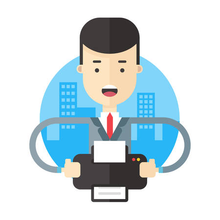 buisnessman: Buisnessman working with  printer. Flat vector illustration Illustration