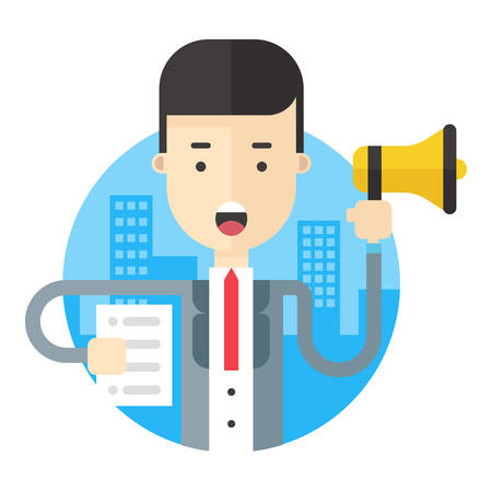 making an announcement: Businessman making announcement with a loudspeaker and a paper in hands. Flat vector illustration. Illustration