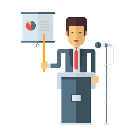 lectern: A businessman is standing at a podium with a microphone showing at a graph. Flat vector illustration isolated on white background
