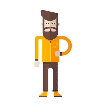 yellow jacket: Funky hipster with beard and moustache in yellow jacket. Flat vector illustration on white background