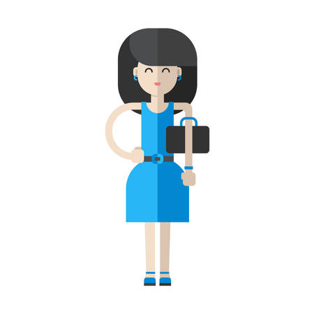 dark haired woman: Dark haired woman in blue dress. Flat vector illustration isolated on white background Illustration