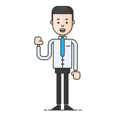 arm raised: A man holding up his hand. Flat vector illustration isolated on white background