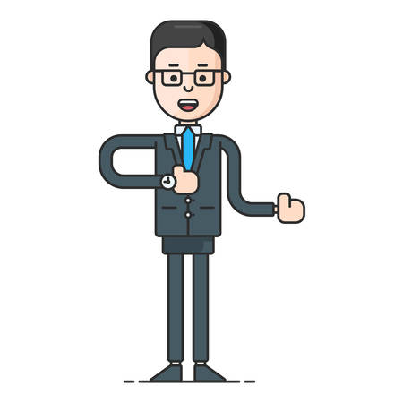 eyewear fashion: Businessman in formal suit and tie showing a direction. Flat vector illustration isolated on white background