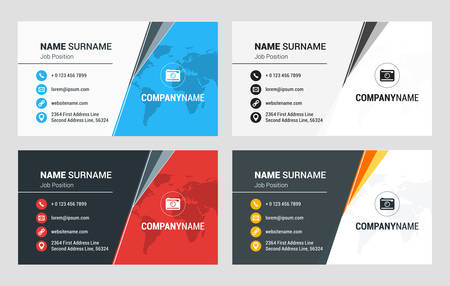 combinations: Business Card Vector Template. Flat Style Vector Illustration. Stationery Design. 4 Color Combinations. Print Template