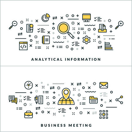 analytical: Analytical Information and Business Meeting. Vector Flat Thin Line Illustration for Website Banner or Header. Flat Line Icons and Geometric Design Elements Illustration
