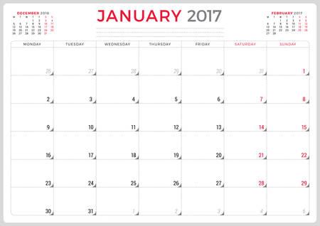 meses del año: Planificador de calendario para 2017 Año. Del diseño del vector. Enero. La semana empieza el lunes. 3 Meses En la página. Diseño de papelería Vectores