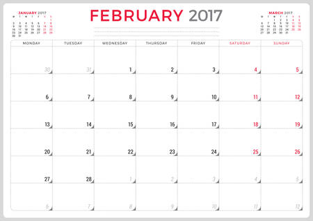 agenda year planner: Calendar Planner for 2017 Year. Vector Design Template. February. Week Starts Monday. 3 Months on Page. Stationery Design