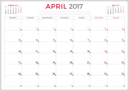 agenda year planner: Calendar Planner for 2017 Year. Vector Design Template. April. Week Starts Monday. 3 Months on Page. Stationery Design
