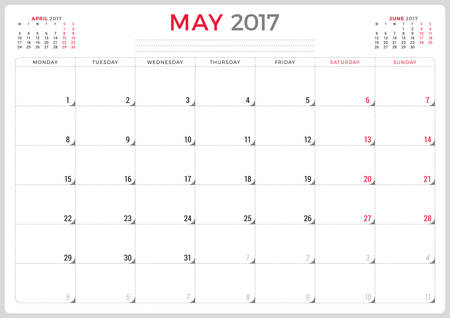 calendar day: Calendar Planner for 2017 Year. Vector Design Template. May. Week Starts Monday. 3 Months on Page. Stationery Design