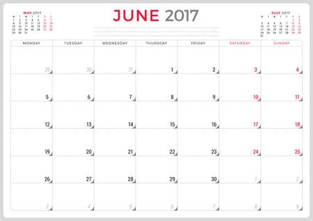 week planner: Calendar Planner for 2017 Year. Vector Design Template. June. Week Starts Monday. 3 Months on Page. Stationery Design Illustration