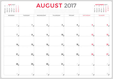 agenda year planner: Calendar Planner for 2017 Year. Vector Design Template. August. Week Starts Monday. 3 Months on Page. Stationery Design