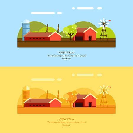 yellow hills: Rural Farm Landscape. Set of Flat Style Vector Illustrations. Vector Background