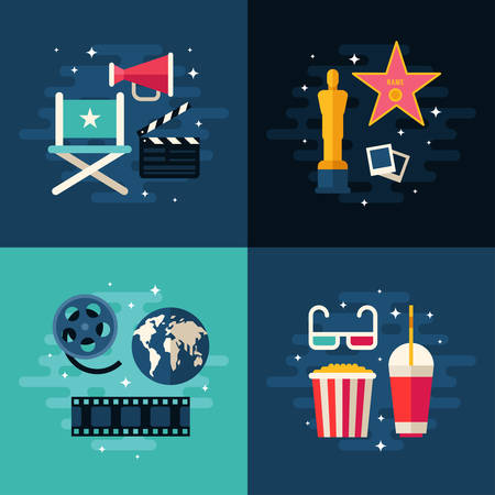 cinematic: Set of Movie Concept Flat Style Vector Illustrations. Movie Making, Cinematic Award, Global Premiere, Movie Theater