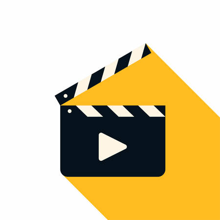 movie clapper: Movie Clapper Board. Flat Style Vector Icon with Long Shadow