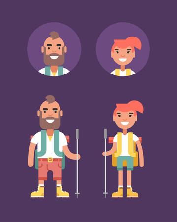 woman hiking: Hiking Concept. Smiling Young Man and Woman with Backpack and Stick for Hiking. Flat Style Illustration. People Profession Avatars Illustration