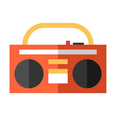 boombox: Vintage red tape recorder for audio cassettes. Music boombox. Music concept. Flat vector illustration