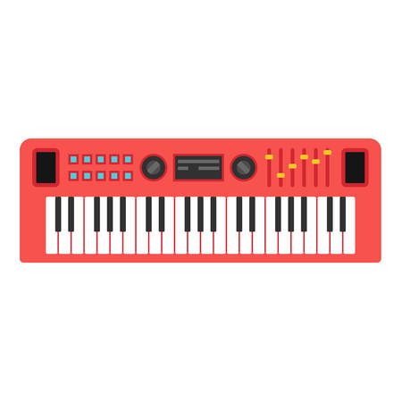 Music synthesizer. Sound musical piano. Keyboard. Flat style vctor illustration