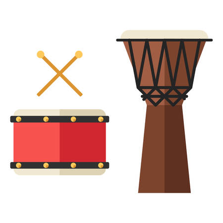djembe: Drum and djembe, african percussion, handmade wooden drum. Flat style vector musical instruments isolated on white Illustration