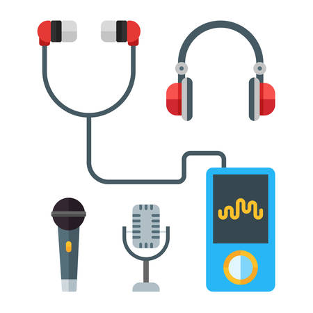 portable player: Portable music devices. Modern mp3 player with earphones. Microphones. Headset. Vector flat illustration