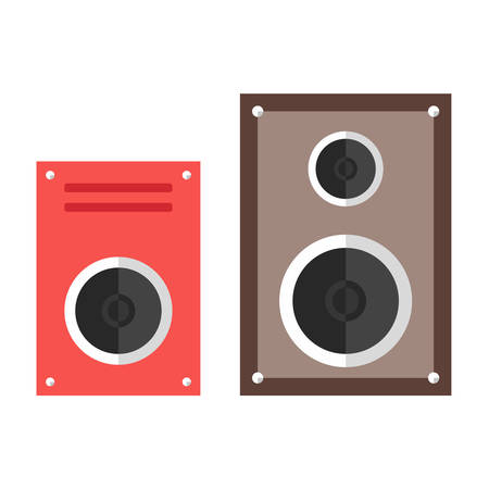 Subwoofer web icon. Speaker. Music devices. Flat design illustration Illustration