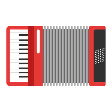 concertina: Classic red accordion icon. Musiacal instrument. Flat style vector illustration