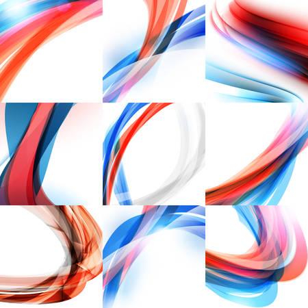 Conjunto abstracto del fondo del vector. ondas rojas y azules sobre fondo claro. Resumen ilustraciones de vectores