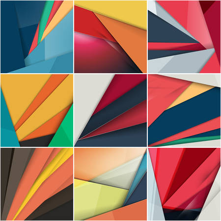 Set of abstract colorful vector backgrounds. Modern material design
