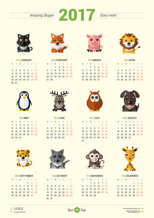 Calendar Design Template for 2017 Year. Week starts Monday. Stationery Design. Vector Calendar Poster with Animal Icons Vector Illustration