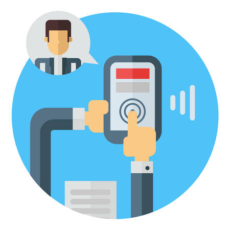 video call: Business means of communication. Video call. Holding smartphone in hands. Colored flat vector illustration