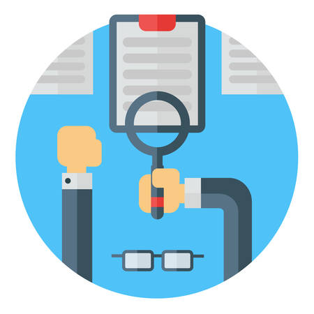 eye wear: Looking at a document with reading magnifying glass. Eye wear, hands, desk, documents. Colored flat vector illustration