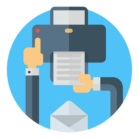 Printing a document, pressing a button on printer. Hand, envelope, printer. Colored flat vector illustartion on round blue background Ilustracja