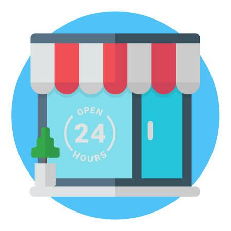 market place: Open 24 hours storefront. Establishment, cafe, store, shop,market, public place. Modern colored flat vector illustration