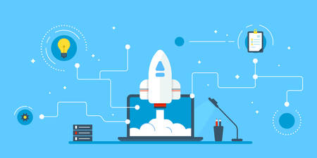 inventions: Rocket takes off from laptop screen. Laptop, IT techologies as an imoprtant device for inventions and keeping connection even with spacemen. Rocket, screen, lightbulb. Colored flat vector illustration on blue background.