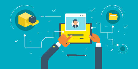 send: Businessman holding a tablet. Keeping photos in computer folders. horizontal colored flat vector illustration. Illustration