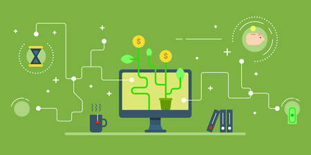 making money: Business startup via web services, e-commerce concept. Computer, making money, piggy bank, time. Horizontal colored flat vector illustration on green background. Illustration