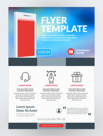Vector business flyer design template for mobile application vector vector business flyer design template for mobile application or new smartphone vector brochure design layout template red and blue colors flashek Images