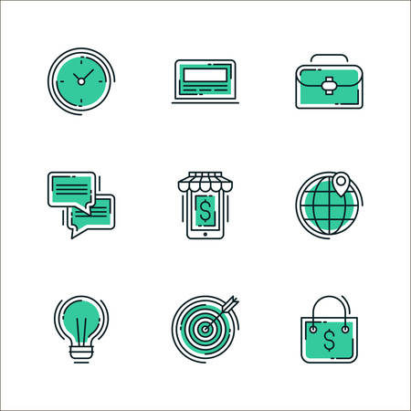 clock radio: Set of icons of business workflow items and elements, office equipment and stuff. Colored in green, isolated on white background