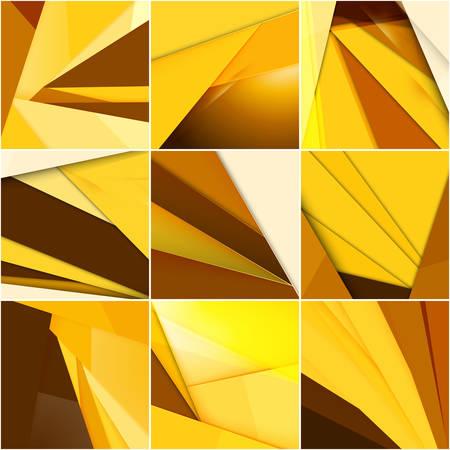 screenshot: Set of abstract golden vector backgrounds. Modern material design Illustration