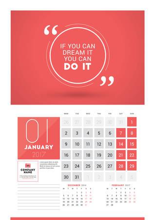 2017 年のウォール カレンダー プランナー印刷テンプレート。2017 年 1 月。カレンダー ポスターの動機付けの引用。ページに 3 ヶ月。月曜日の開始曜